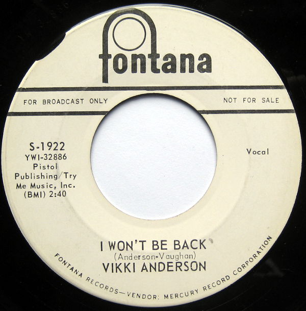 1964 Fontana 45 Vicki Anderson My Man I Won T Be Back