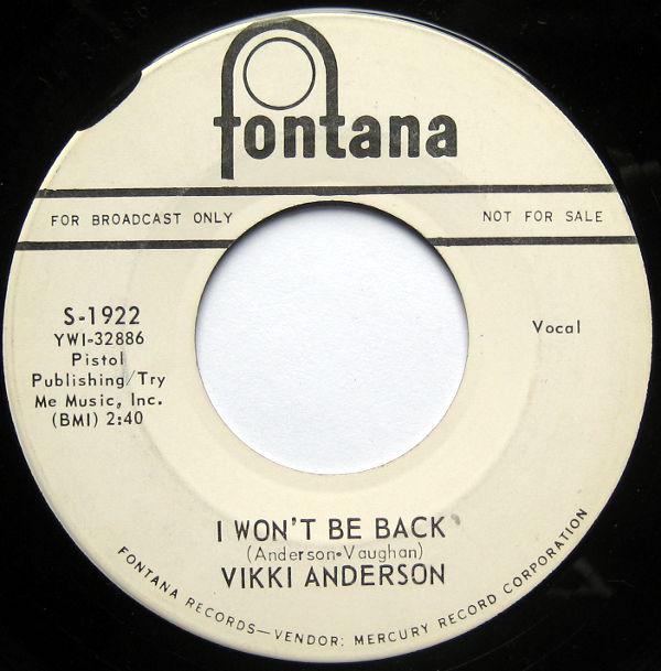 1964 Fontana 45: Vicki Anderson - I Won't Be Back