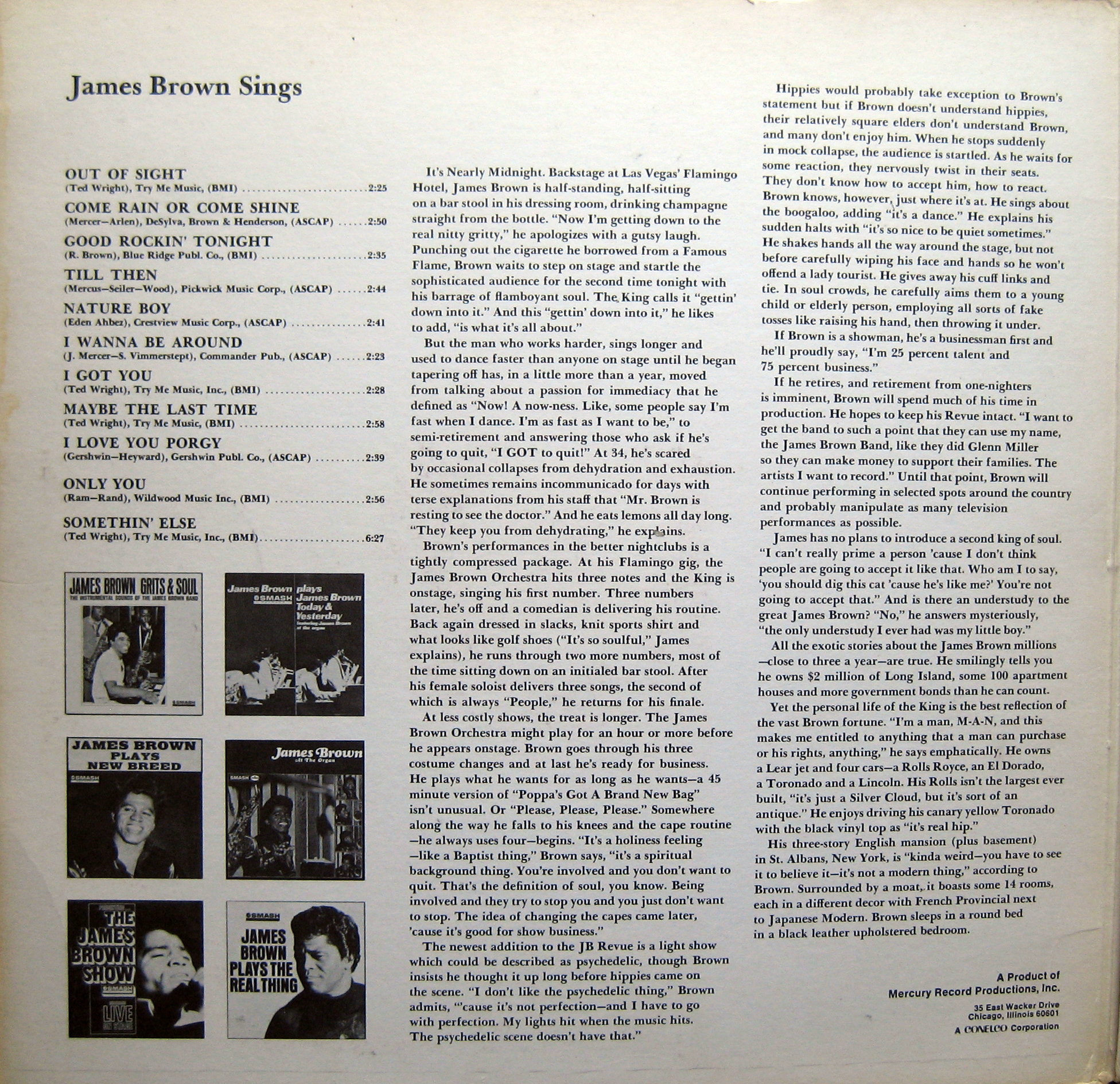 1968 Smash LP: James Brown Sings Out of Sight - Gatefold 1