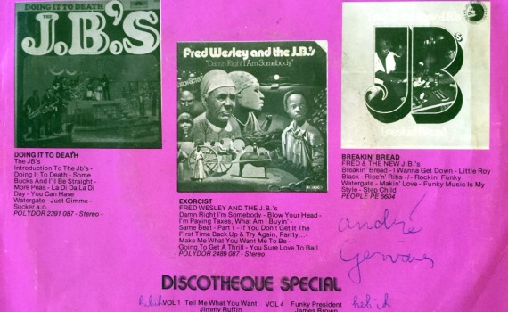 Fred Wesley & the J.B.'s 45 cover sleeve side 2