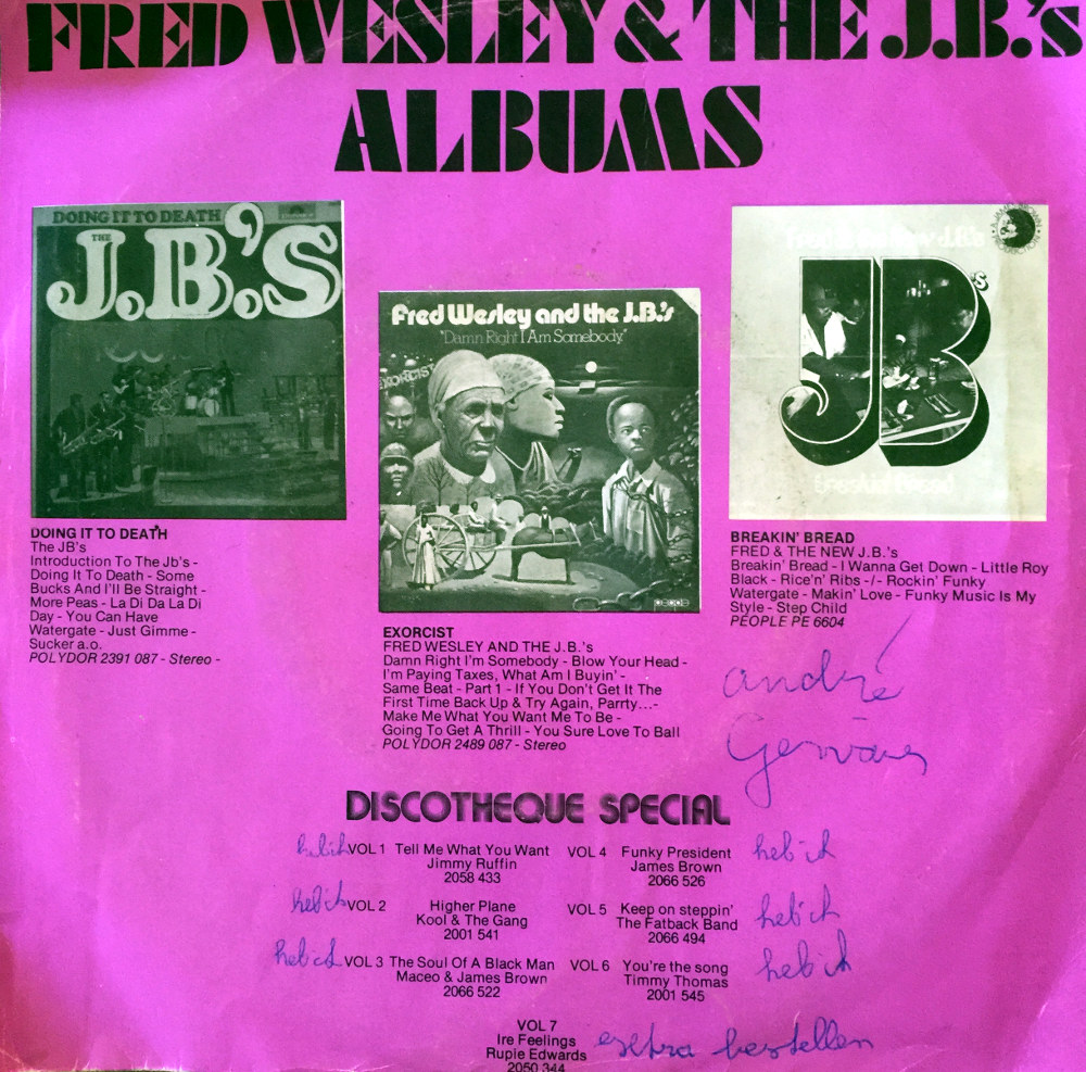 Paper sleeve of European release of Polydor Fred Wesley & the J.B.'s 45